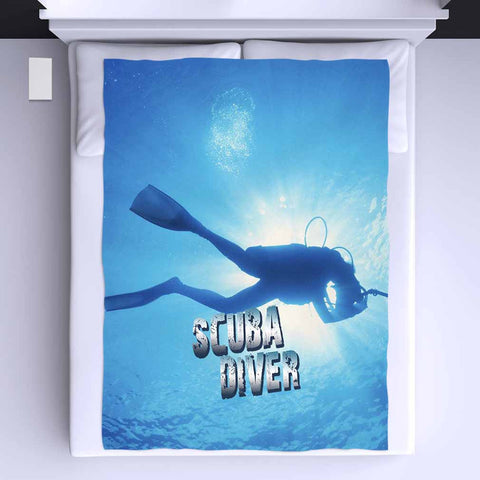 Scuba Diver All Over Print Blanket