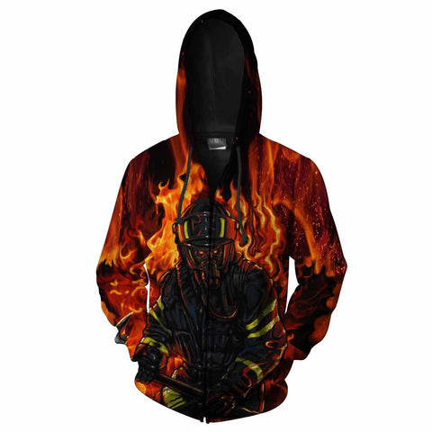 Firefighter All Over Print Hoodie