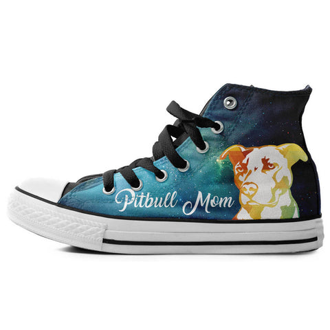 Pitbull Mom High Top Canvas Shoes