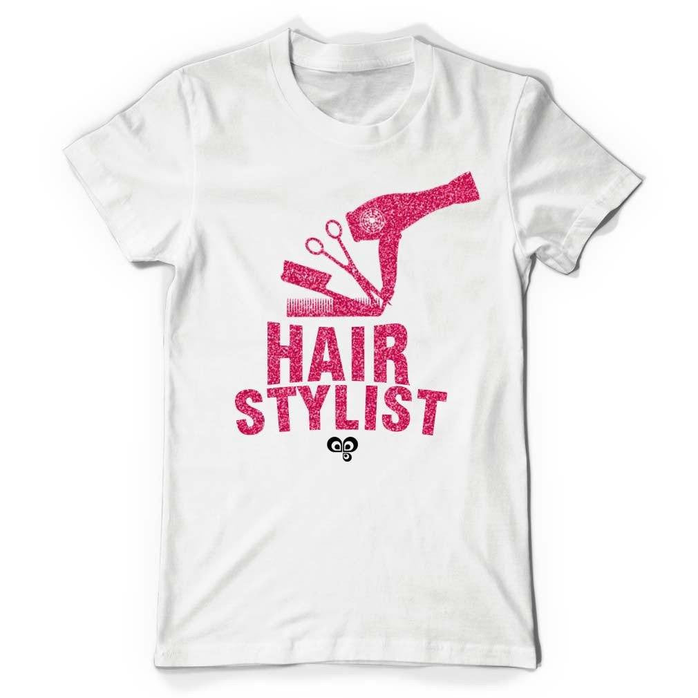 Hair Stylist White T Shirt with Pink Glitter Text - Butterfly Trade