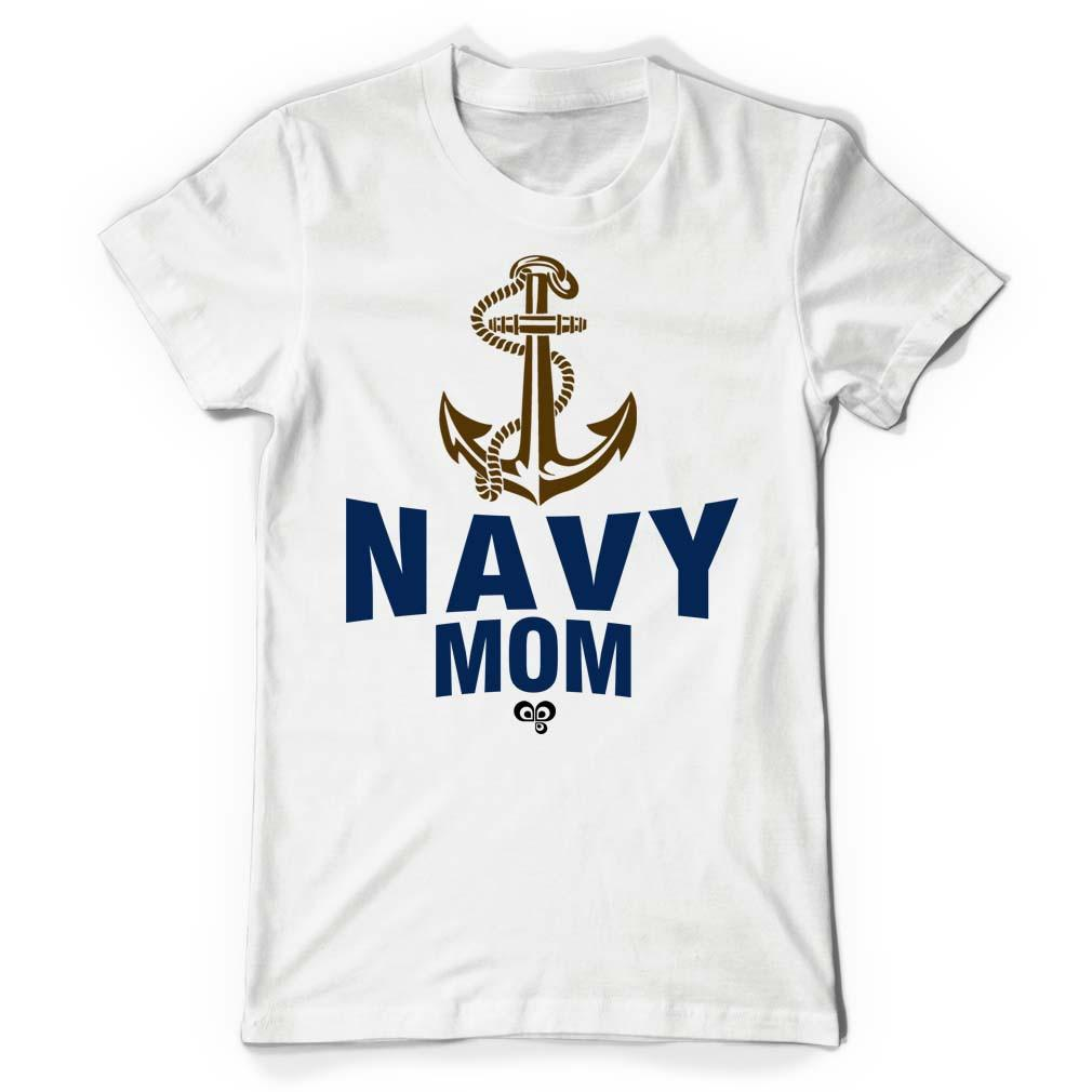 Navy Mom White T Shirt - Butterfly Trade