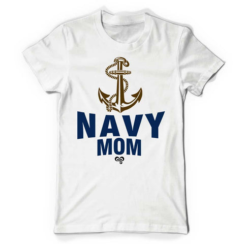 Navy Mom White T Shirt