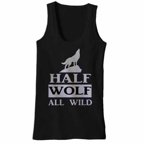 Half Wolf All Wild Tank Tops - Butterfly Trade