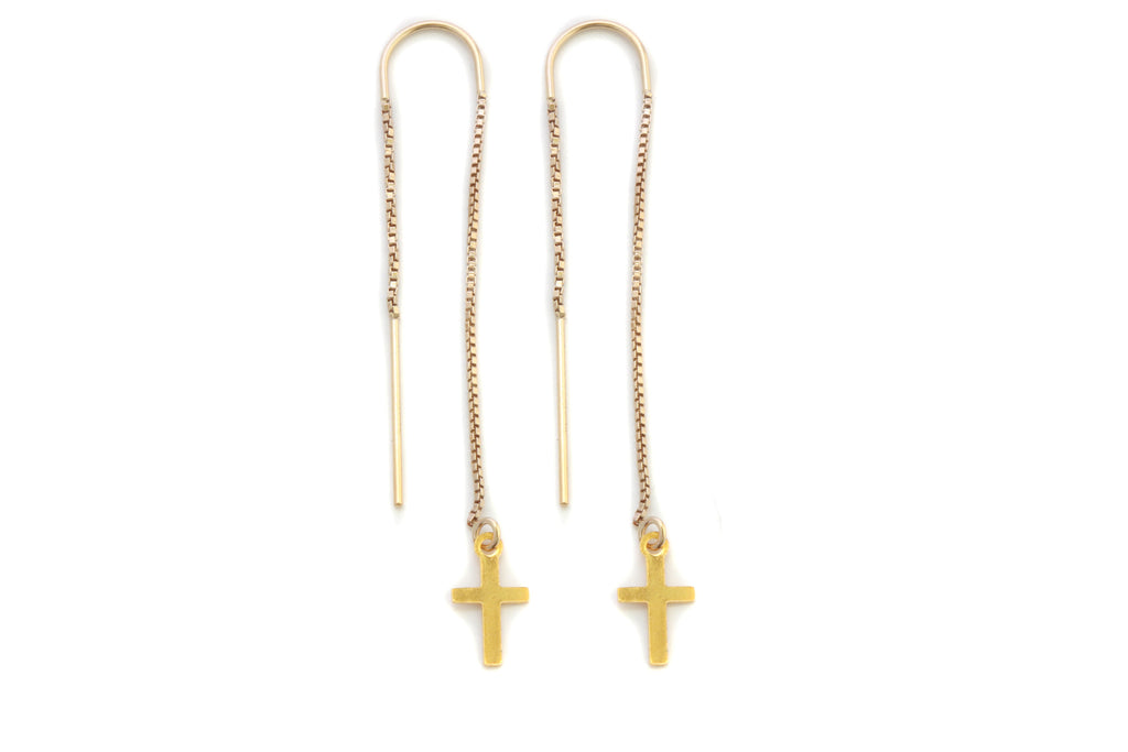 Pueblo Jewelry, minimal fine gold threader cross earrings