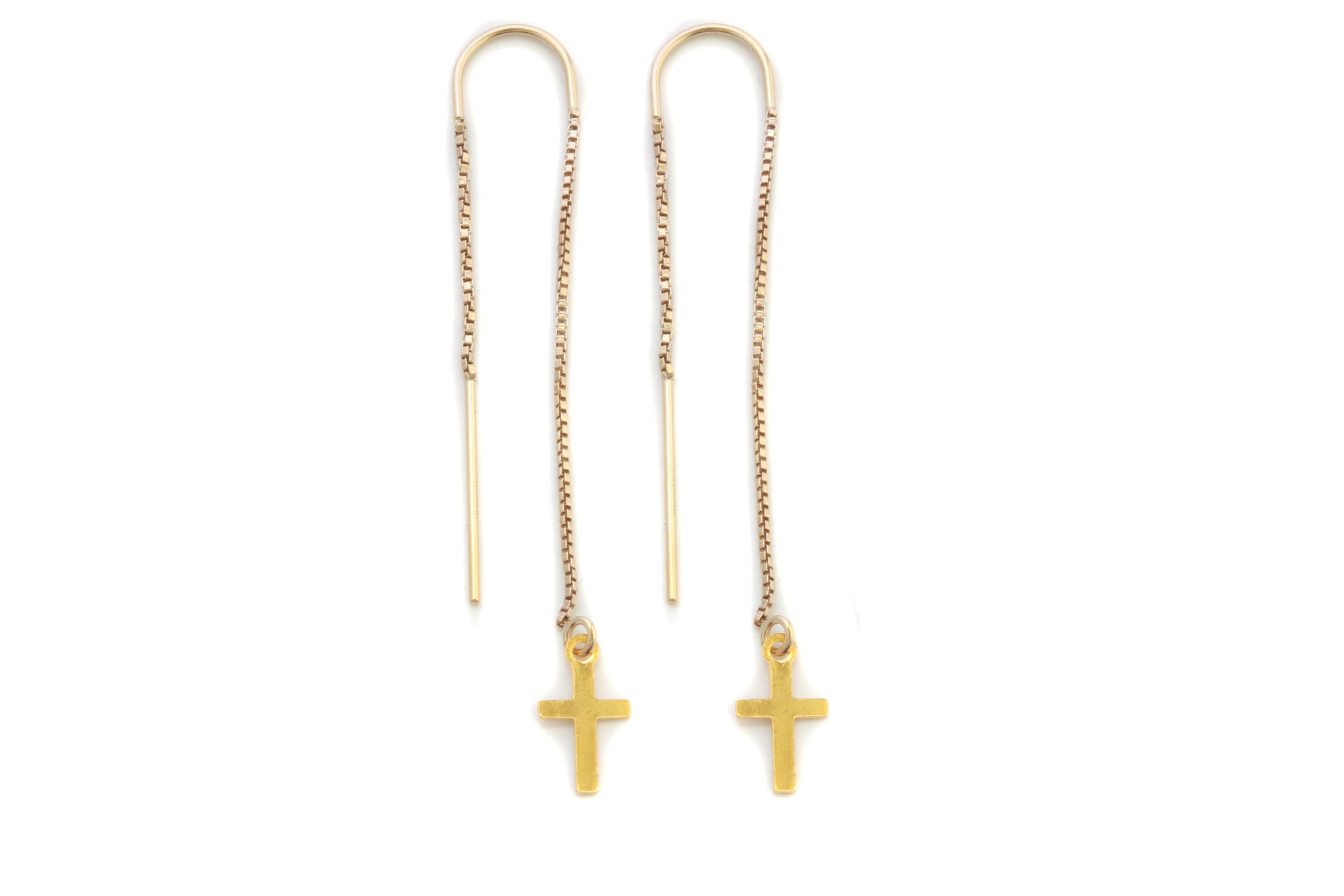 14k Gold Cross Threader Earrings