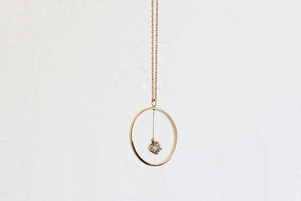 Diamond Circle Pendant Necklace - Champagne Diamond