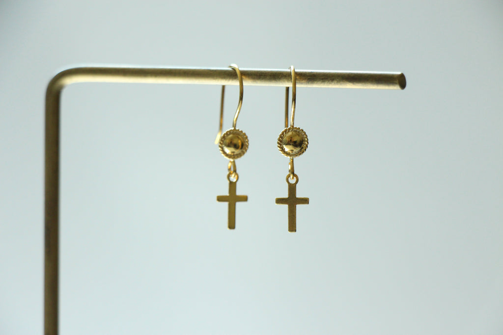 Thin Cross Earrings