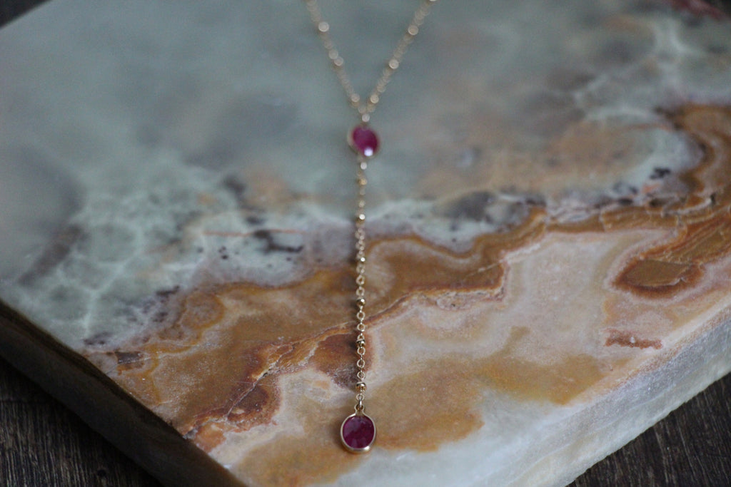 Pueblo Jewelry - Ruby Gold Necklace