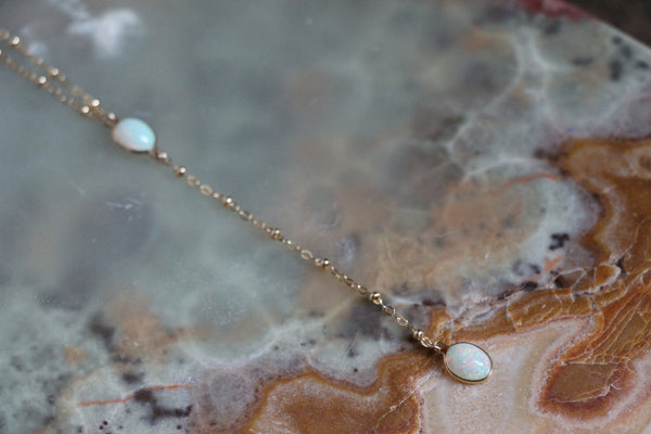 Delicate long layering opal necklace