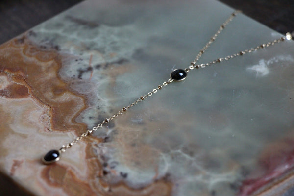 Fashion jewelry made in Los Angeles - Black Opal layering Necklace