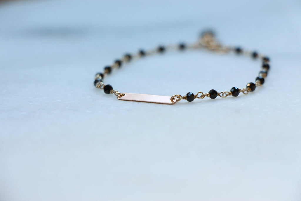 Dainty Rosary rose gold ID bracelet