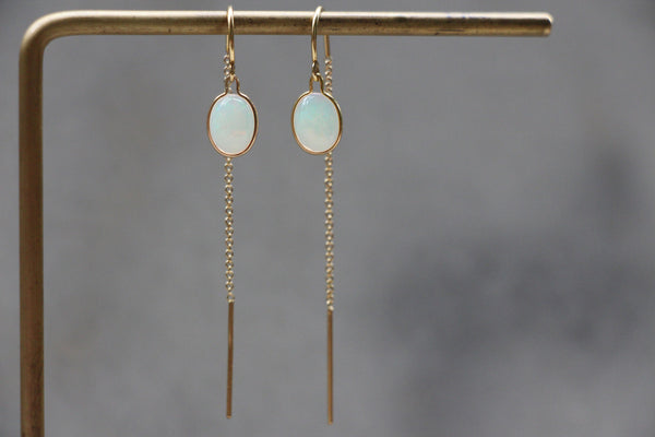 Gold Threader Earrings with Australian Opal Stones
