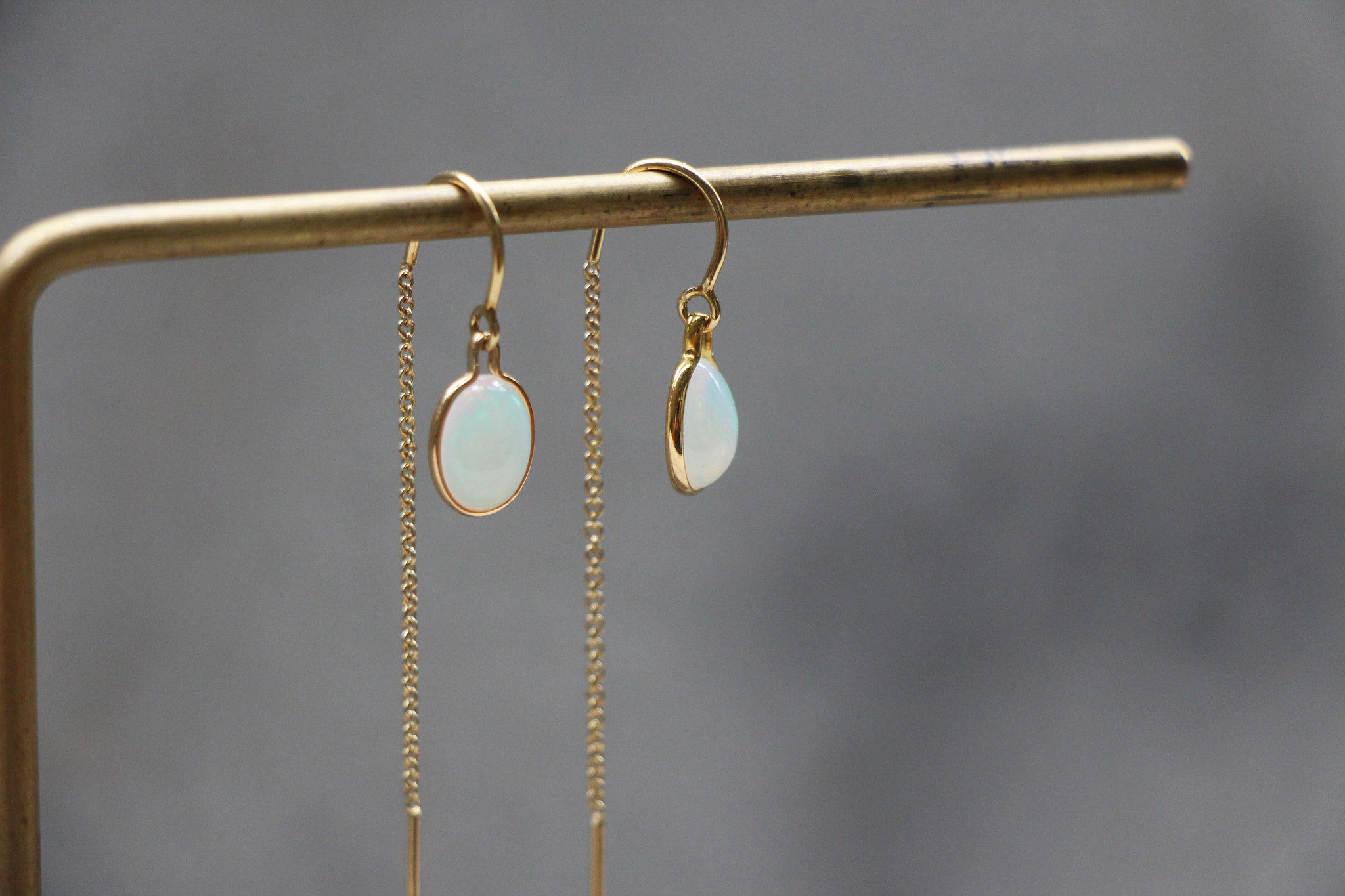 Dainty Opal Threader Earrings in 14k gold filled settings