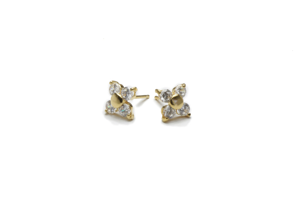 CZ gold plated earring studs