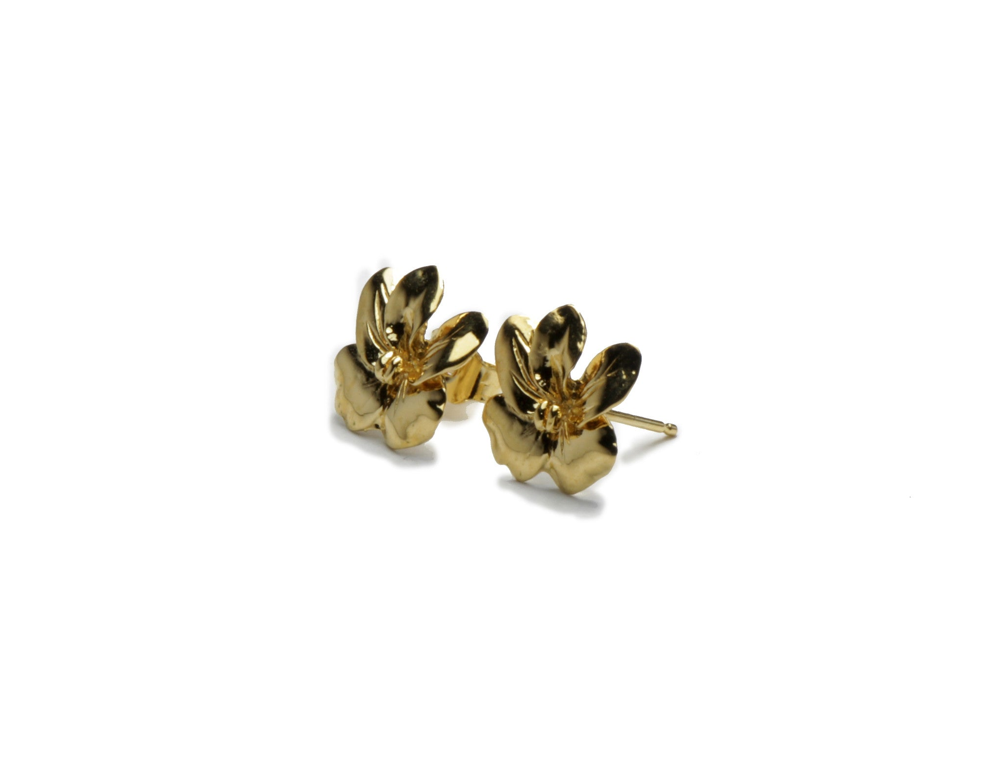 Flower stud earrings - gold over brass