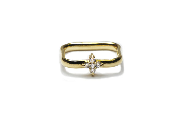 Pueblo Jewelry - Square gold band ring