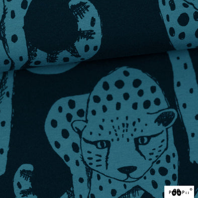 Fairtrade Bio French Terry Cheetah dunkeltürkis