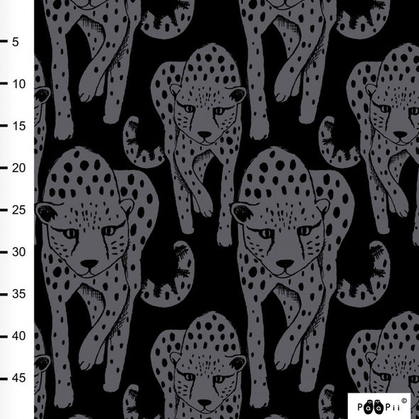 Fairtrade Bio French Terry Cheetah grau