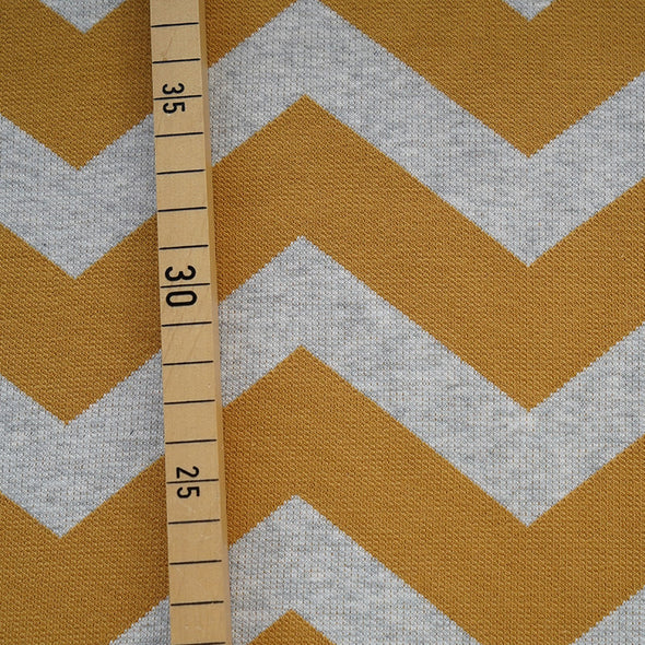 Fairtrade Bio Interlock Jacquard Chevron Curry Nevis