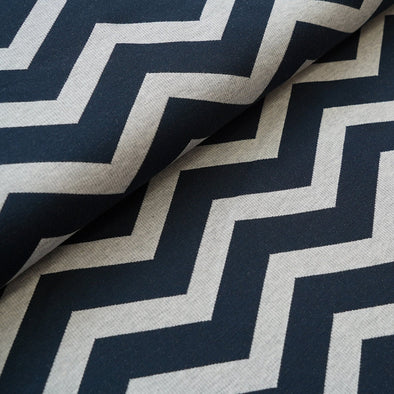 Fairtrade Bio Interlock Jacquard Chevron Dark Blue Nevis