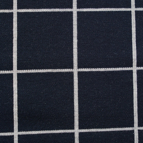 Fairtrade Bio Interlock Jacquard Karo Dark Blue Nevis