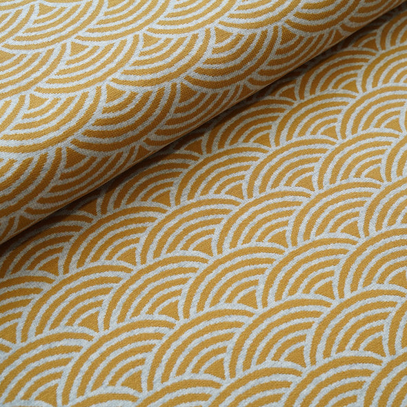 Fairtrade Bio Interlock Jacquard Regenbogen Curry Nevis