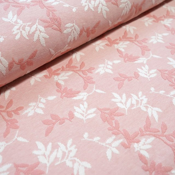 Jacquard Relief Shiny Leaves Rosa
