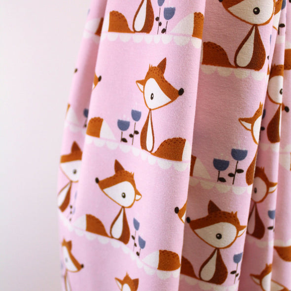Fairtrade Biojersey Little Fox Rosa