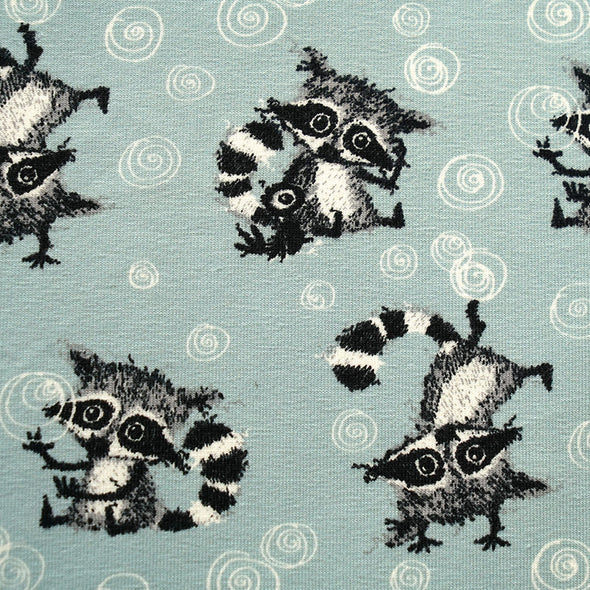 Fairtrade Biojersey Racoons Allover Gletscher