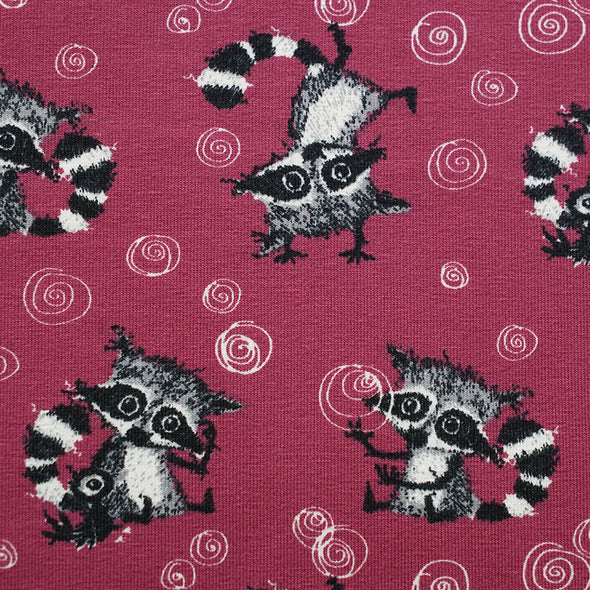 Fairtrade Biojersey Racoons Allover Holunder