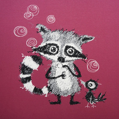 Fairtrade Biojersey Racoons Panel Holunder