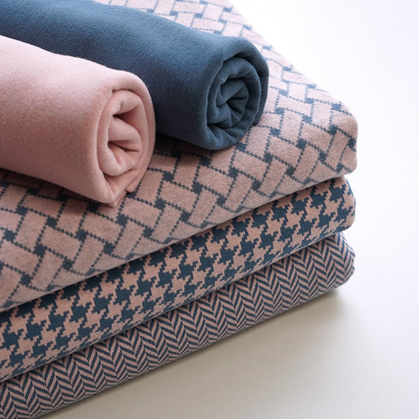 Bio Jacquard - Fischgrät cold pink china blue