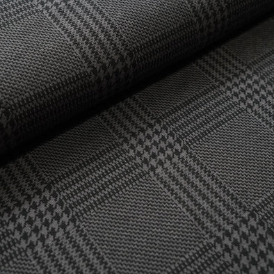Fairtrade Bio Jacquard Glen Check Grau Schwarz