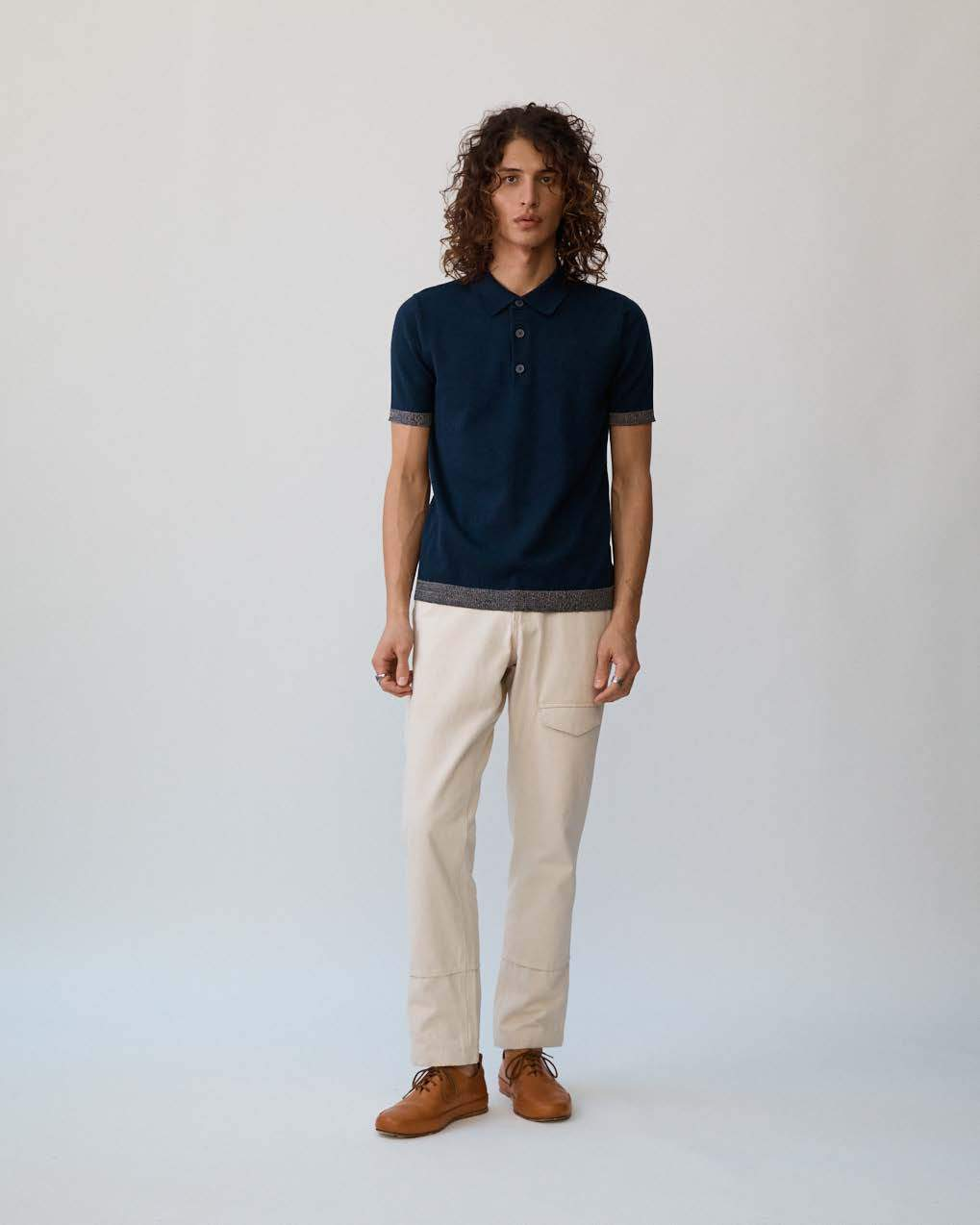 Navy Knit Contrast Polo