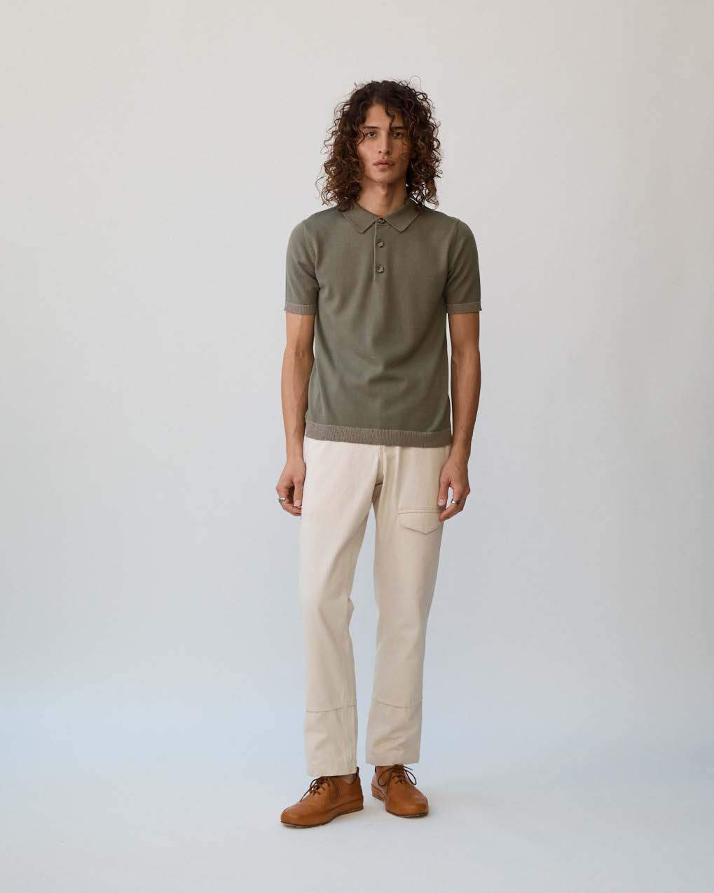 Olive Knit Contrast Polo