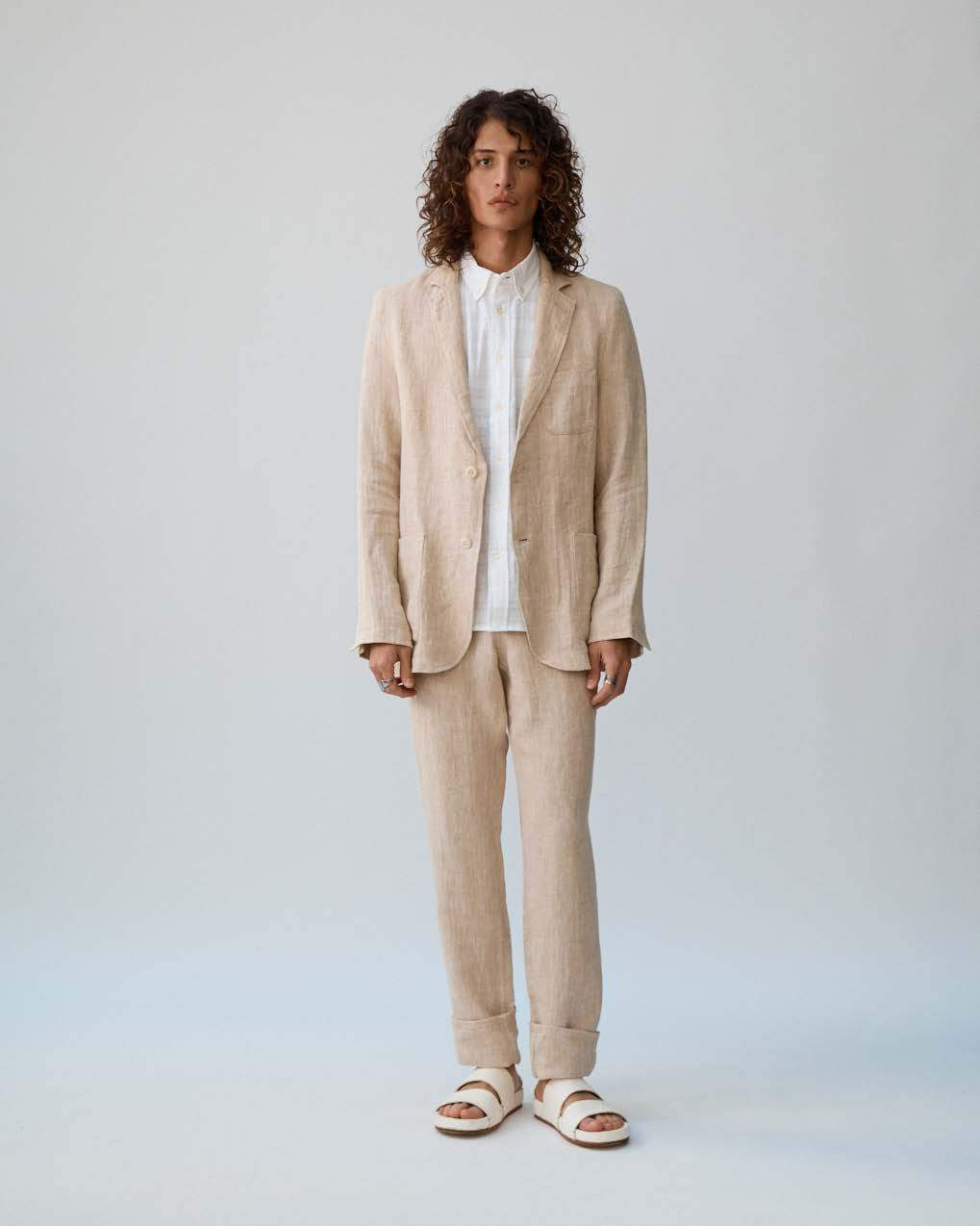Natural Herringbone Linen Trousers