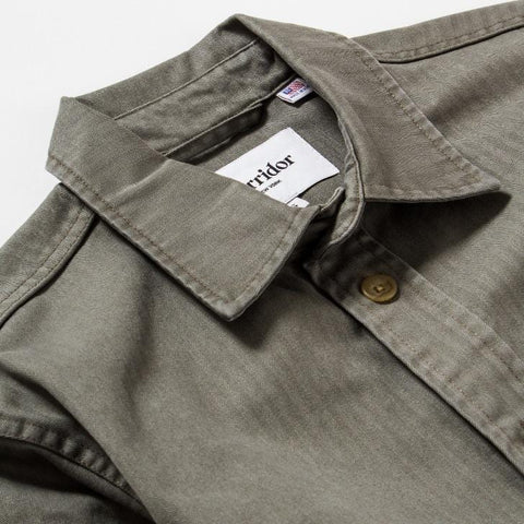 Herringbone Overshirt - Faded Olive