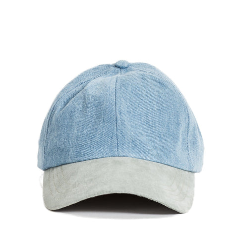 Seafoam Vege Suede & Washed Blue Denim Cap