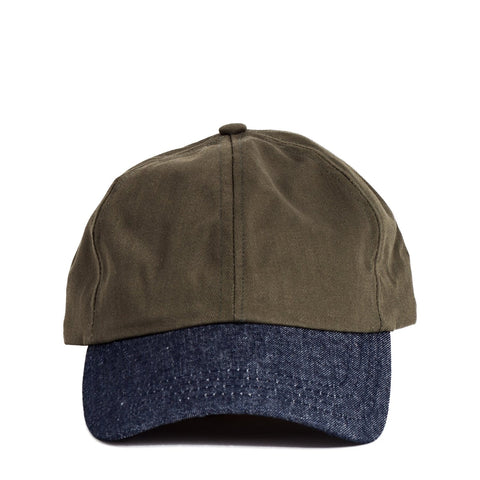 Raw Indigo Denim & Herringbone Olive Cap