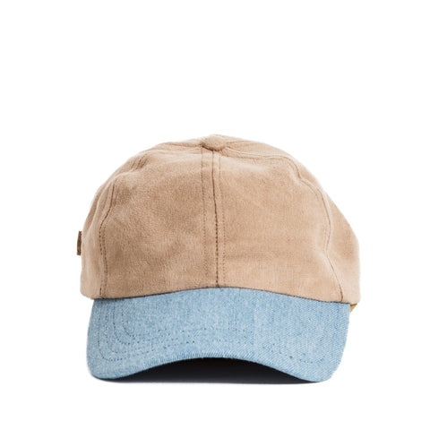 Washed Denim & Natural Vege Suede Cap