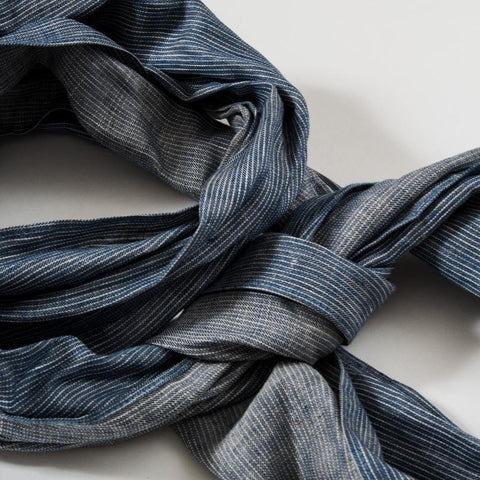 Blue Ticking Stripe Linen Scarf