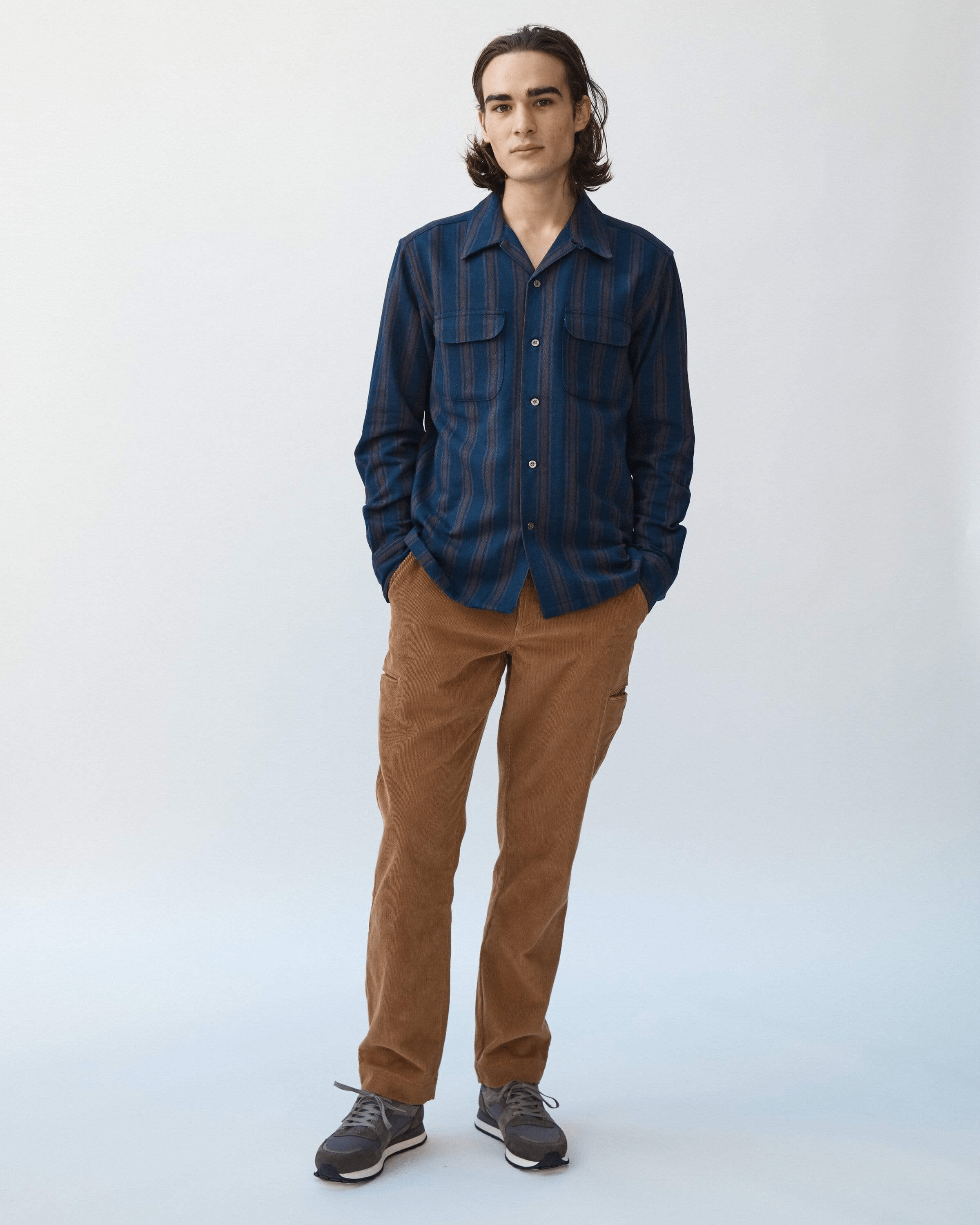 Indigo Brown Stripe Work Shirt