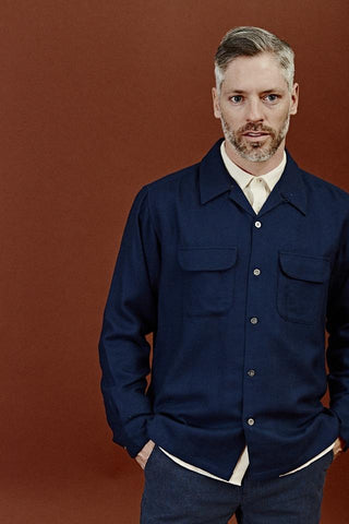 Navy Worsted Wool Work Shirt