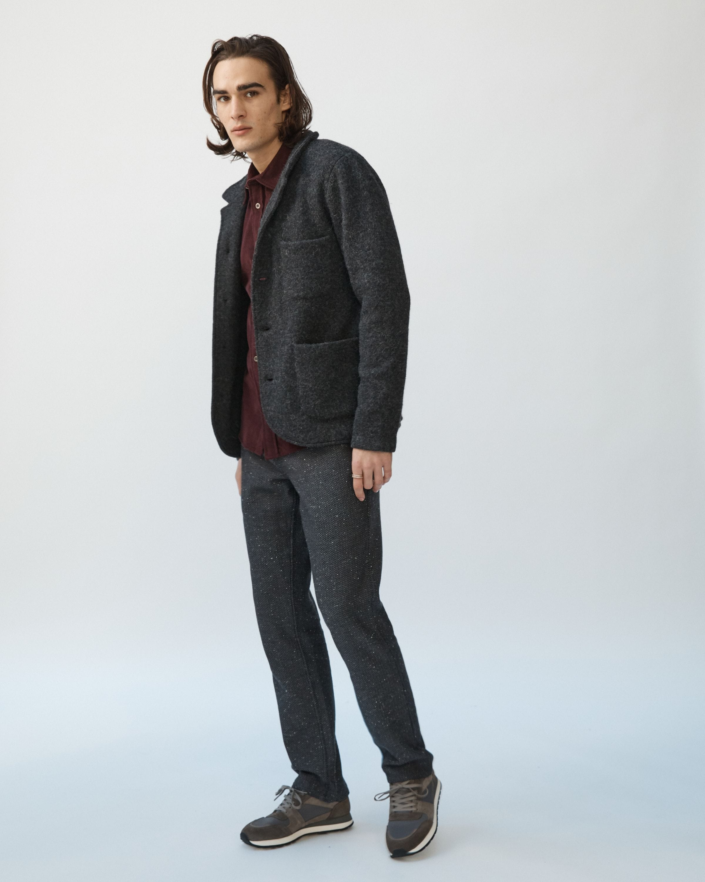 Blazer Cardigan - Boiled Wool / Alpaca - Double Jersey - Charcoal