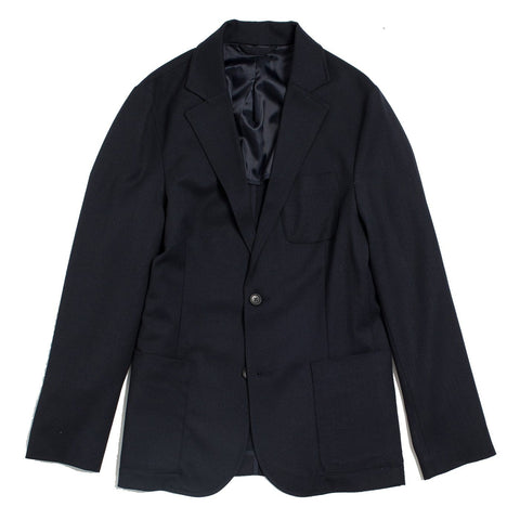Navy Twill Wool Travel Blazer