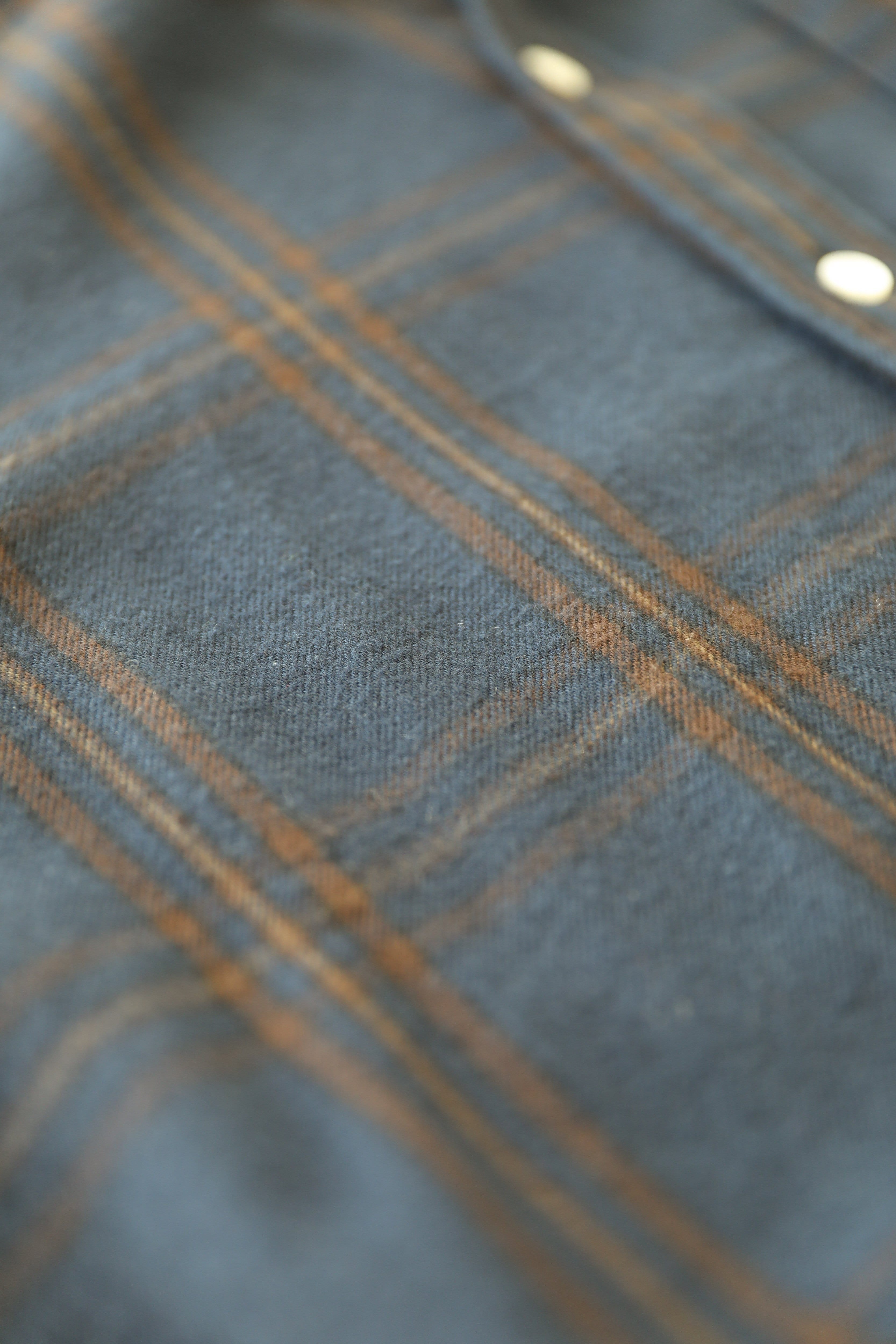 Navy Brown Check Flannel