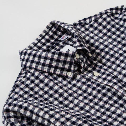 Navy Red Seersucker Plaid LS