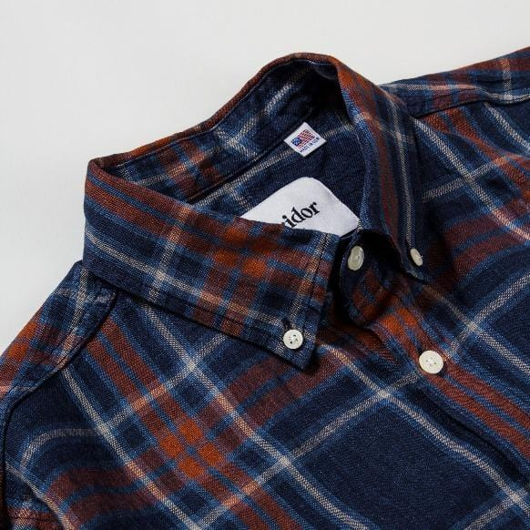 Indigo Blue Red Plaid LS