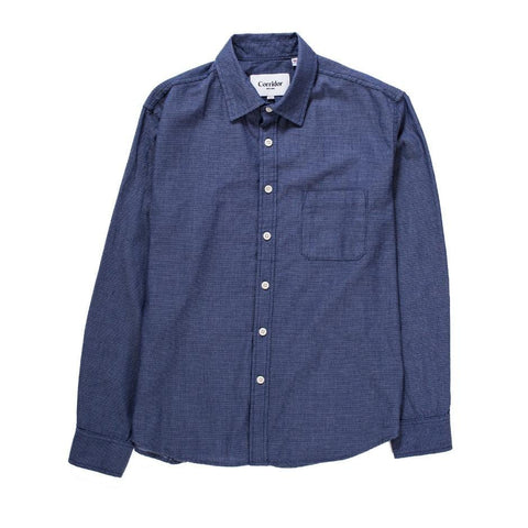 Micro Dot Denim - Blue - LS