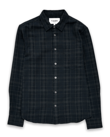 Black Dobby Plaid LS